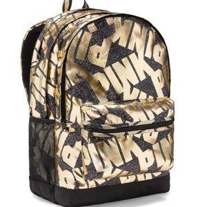 NWT! VS PINK Campus Backpack black gold foil logo